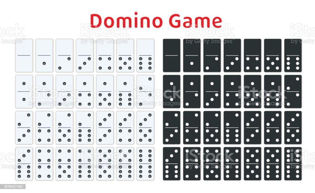 Full set of white and black dominoes isolated on white. Complete double-six set. Flat illustration. vector art illustration