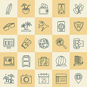 A thin line icon in a travel theme. Full Set.