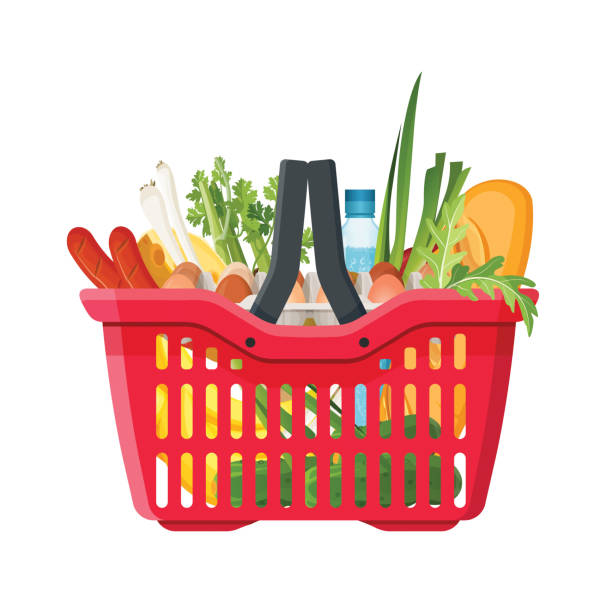 Full shopping basket of market food and products. Organic fruit, vegetables and supermarket products. Vector vector art illustration