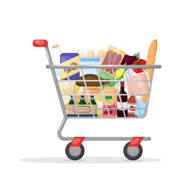 illustrazioni stock, clip art, cartoni animati e icone di tendenza di full shopping cart. food store, supermarket. set of fresh, healthy and natural product. vector - banchi di pesci