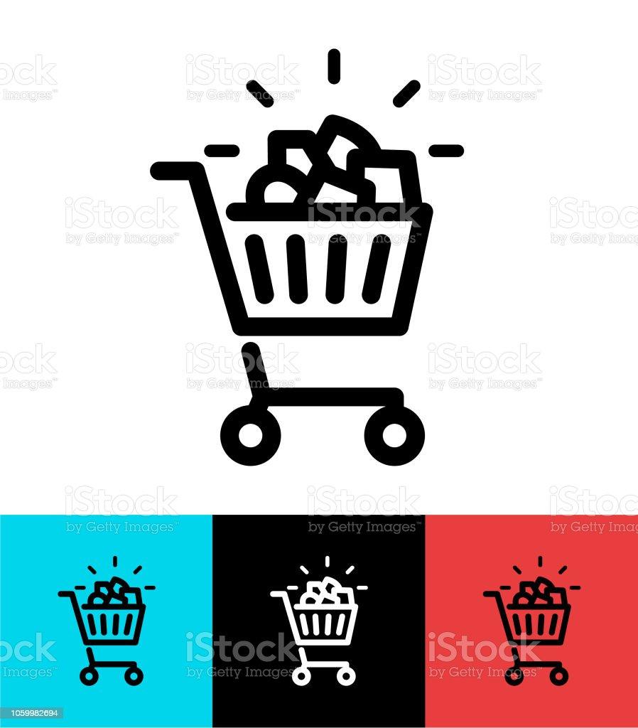 Full Shopping cart icon design vector art illustration