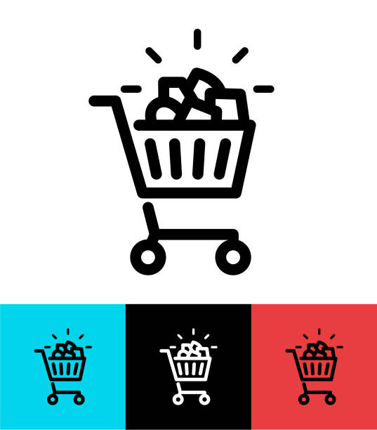 illustrazioni stock, clip art, cartoni animati e icone di tendenza di full shopping cart icon design - pieno
