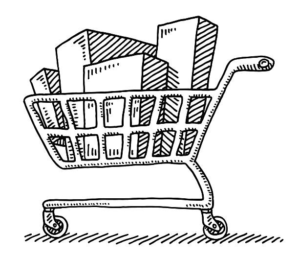Full Shopping Cart Packaging Drawing Hand-drawn vector drawing of a Full Shopping Cart with many Packagings. Black-and-White sketch on a transparent background (.eps-file). Included files are EPS (v10) and Hi-Res JPG. transportation stock illustrations