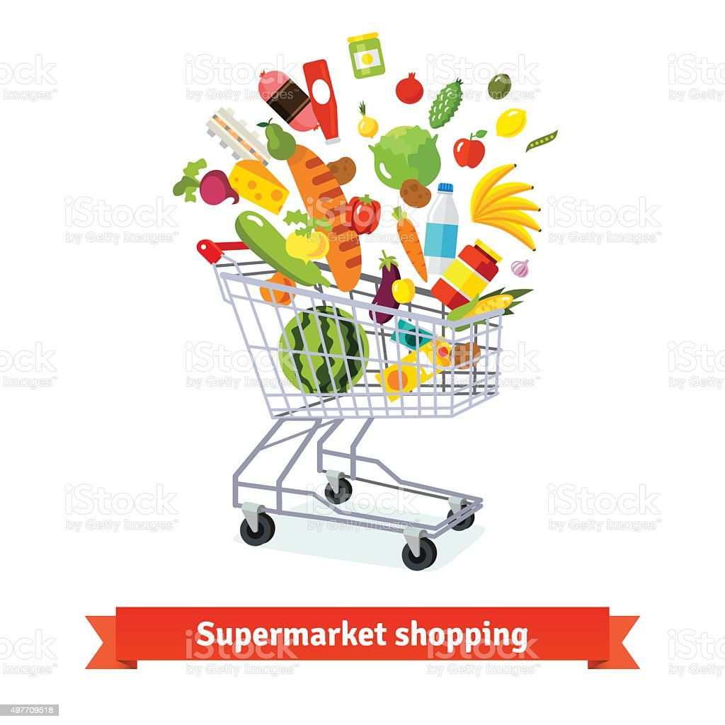 Full shopping grocery cart exploding with goods vector art illustration