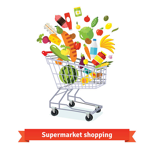 Full shopping grocery cart exploding with goods Full shopping grocery cart exploding with goods. Flat isolated vector illustration and icons on white background. full stock illustrations
