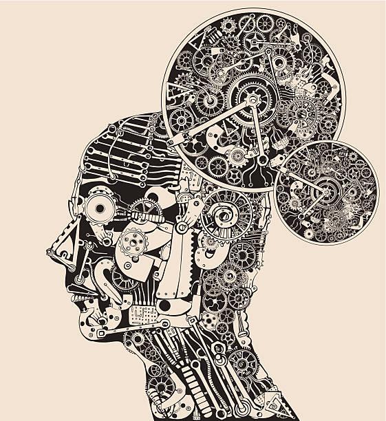 Full time thinker. The science of mind. vector art illustration