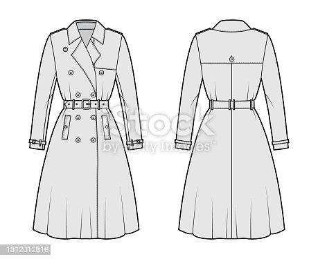 istock Full Trench coat technical fashion illustration with belt, double breasted, sleeves, napoleon lapel collar, storm flap 1312012816