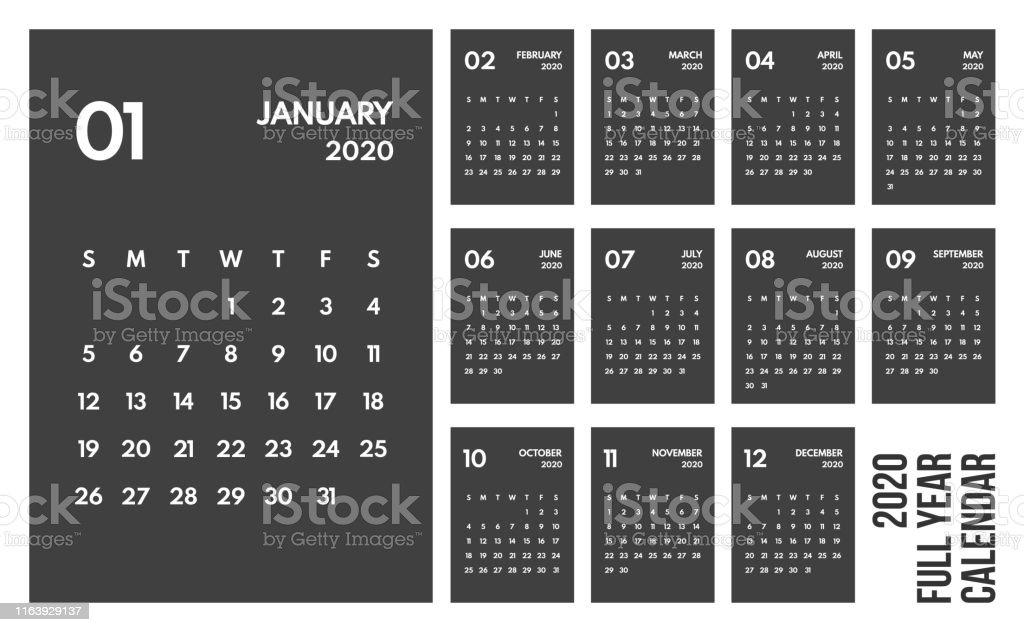 Calendario De 2020 Completo.Ilustracion De 2020 Ano Completo Calendario Mensual De Color