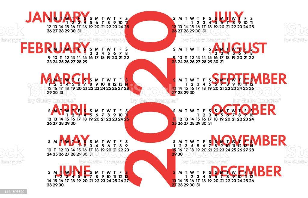 Calendario De 2020 Completo.Ilustracion De 2020 Ano Completo Rojo En Calendario Blanco