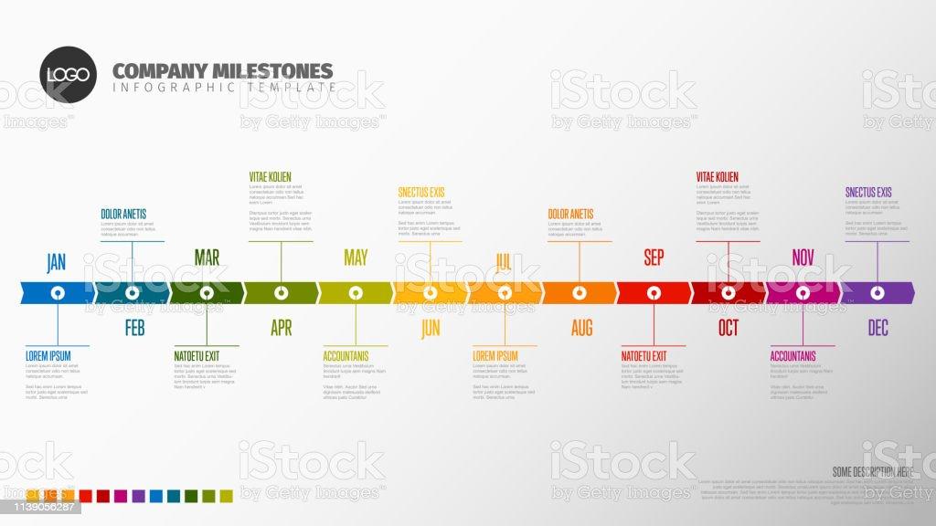 full year timeline template stock illustration