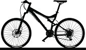 Detailed illustration of a modern mountain bike with full-suspension.