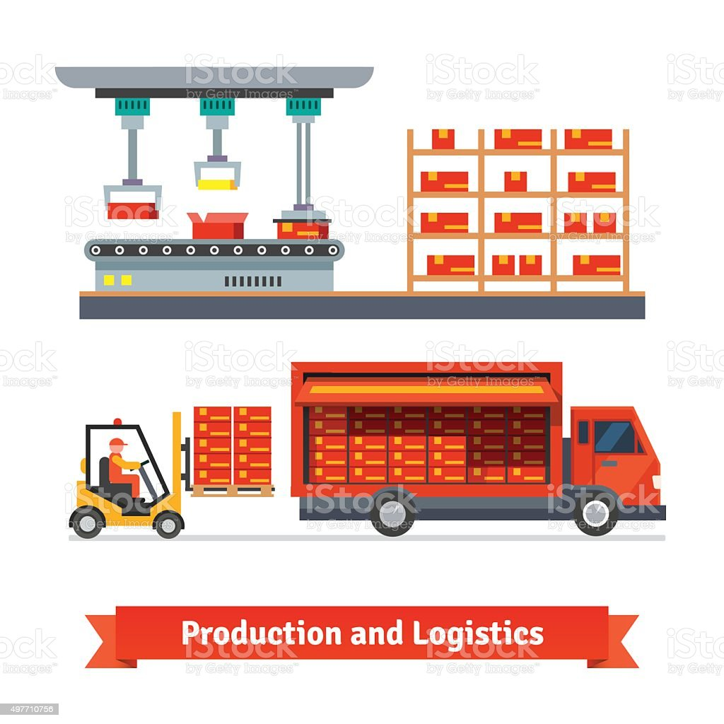 Fully automatic production line and delivery truck vector art illustration