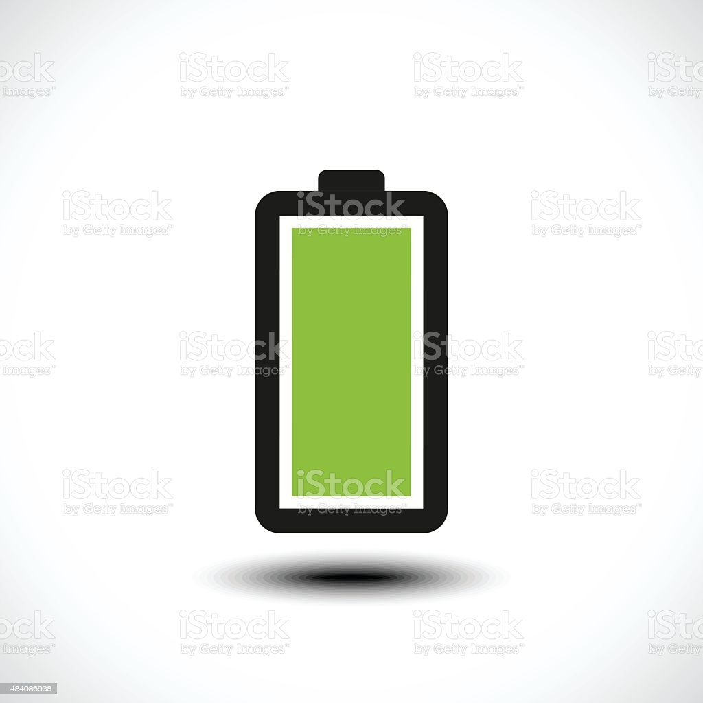 Fully charged green battery icon vector art illustration