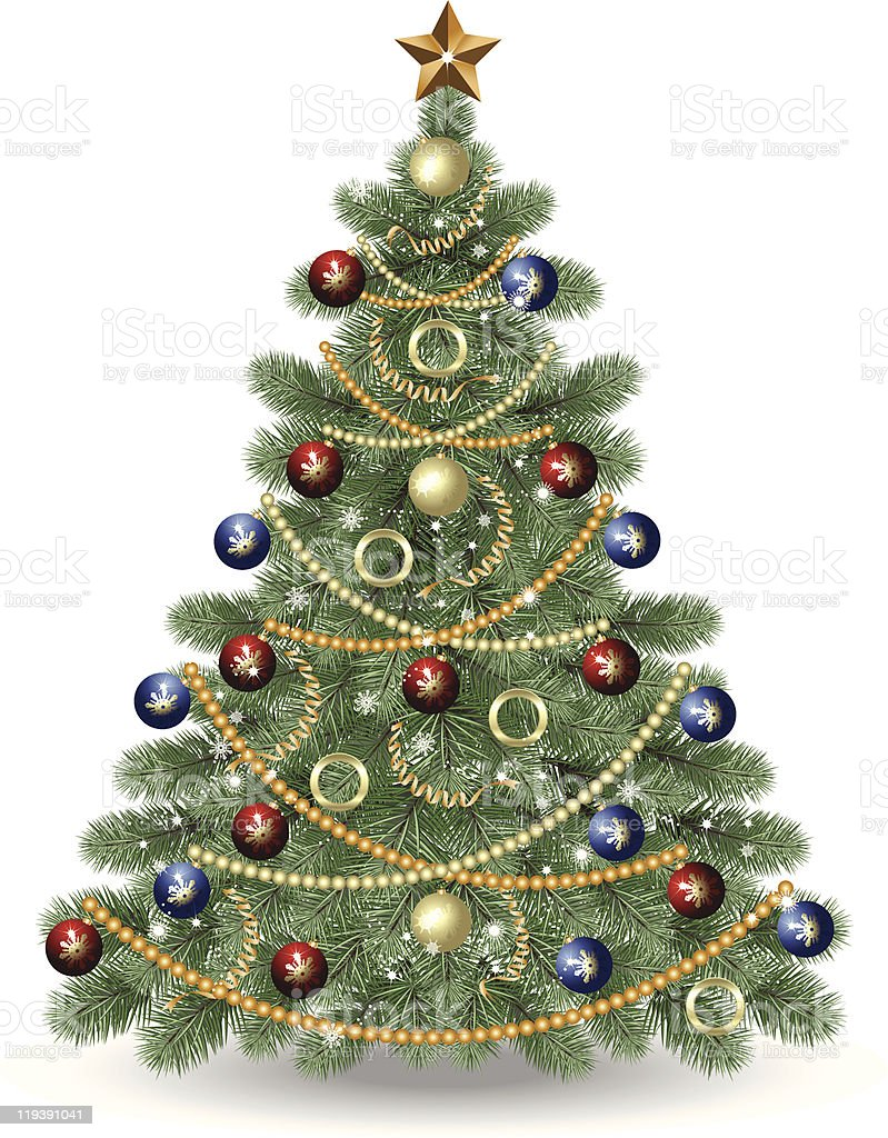 fully decorated christmas tree on white background royalty free fully decorated christmas tree on white