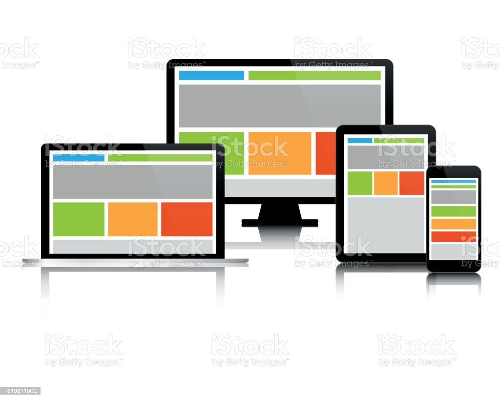 Fully Responsive Web Design In Modern Electronic Devices Set