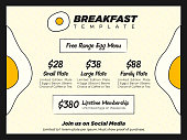 Fun and Creative Brunch or Breakfast Promo Menu Template with Egg Patterns and Giant Egg Icons for Sale Flyer or Poster Template.