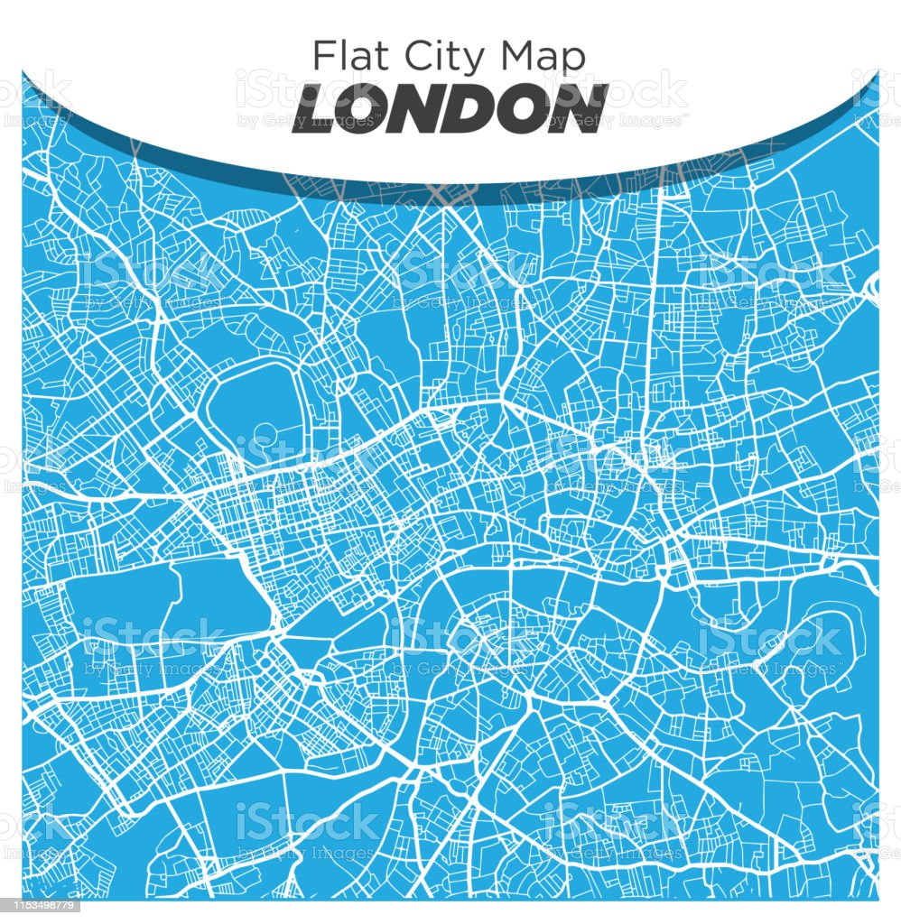 England And London Map.Fun And Creative Flat Street Map Of London England On Blue
