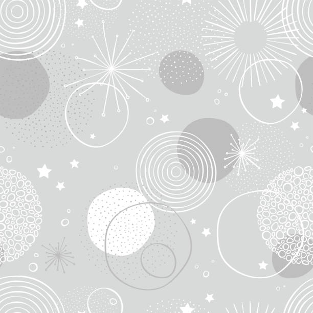Fun and elegant New Years firework seamless pattern - hand drawn abstract doodles circles - great for New Years prints, invitations, textiles, wallpapers, banners - vector surface design Fun and elegant New Years firework seamless pattern - hand drawn abstract doodles circles - great for New Years prints, invitations, textiles, wallpapers, banners - vector surface design christmas fun stock illustrations