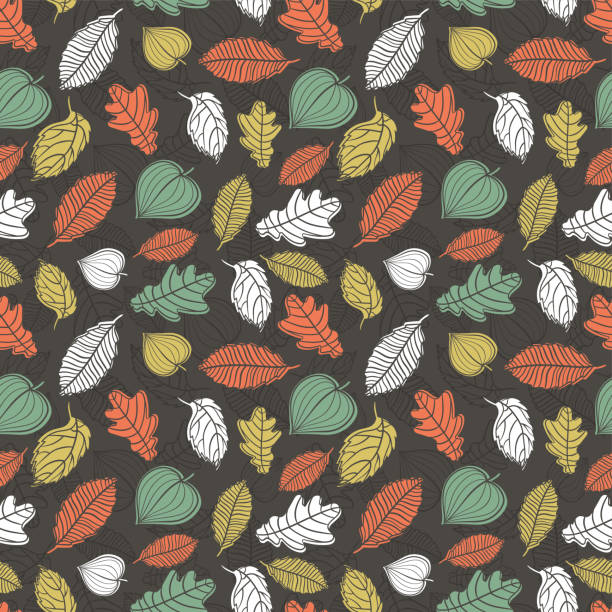 Fun and elegant seamless pattern with falling leaves, fall autumn background, great for seasonal fashion prints, wallpapers, invitations, banners - vector surface design vector art illustration