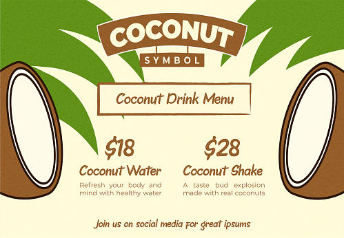 Fun and Happy Coconut Drink Bar Web Banner or Menu Flyer Template with Beige Palm Leaf Background for Promo Poster