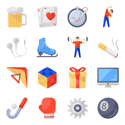 Fun and Hobbies Flat Icons Pack