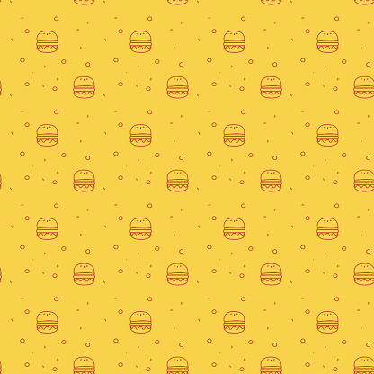 Fun and Modern Seamless Pattern of a Cheese Burger or Hamburger on a Funky Bright Orange Background stock illustration