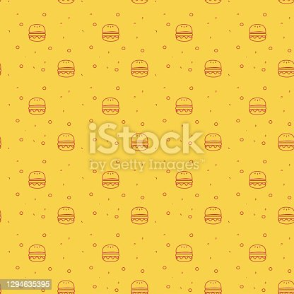 istock Fun and Modern Seamless Pattern of a Cheese Burger or Hamburger on a Funky Bright Orange Background stock illustration 1294635395