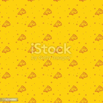istock Fun and Modern Seamless Pattern of a Pizza on a Funky Bright Orange Background 1193546687