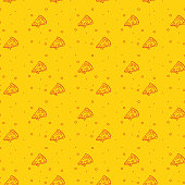 Fun and Modern Seamless Pattern of a Pizza on a Funky Bright Orange Background