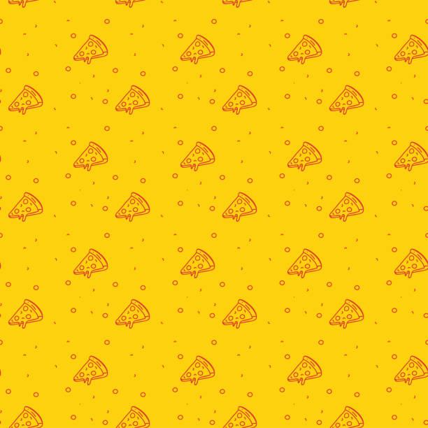 illustrazioni stock, clip art, cartoni animati e icone di tendenza di divertente e moderno motivo senza cuciture di una pizza su uno sfondo funky arancione brillante - pizza