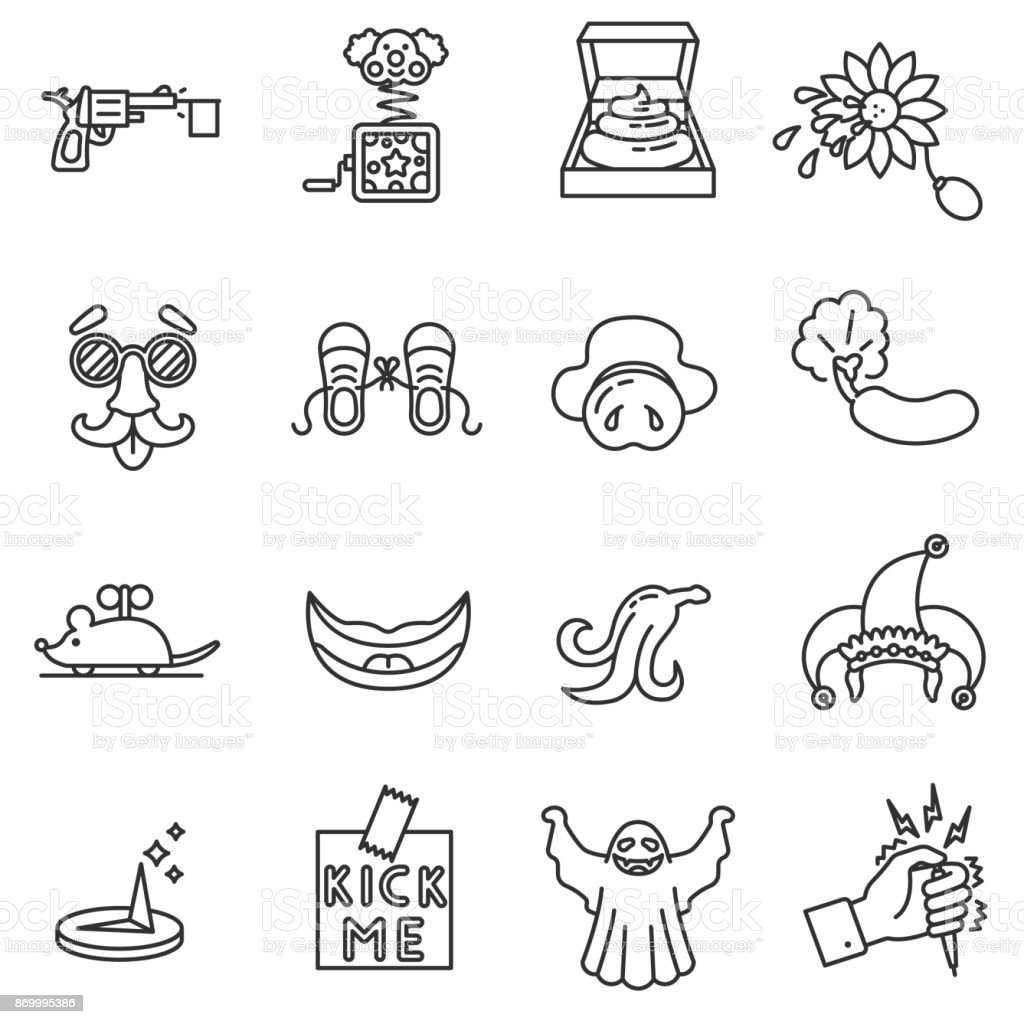 Fun and practical jokes icons set. vector art illustration