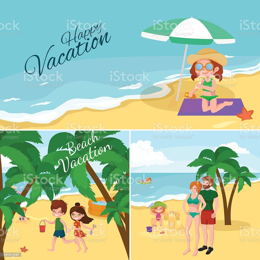 Fun at beach. Happy kids plaing sand around water vector art illustration