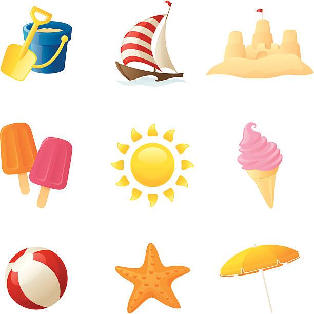 illustrations, cliparts, dessins animés et icônes de fun à la plage-jpeg inclus - chateau de sable