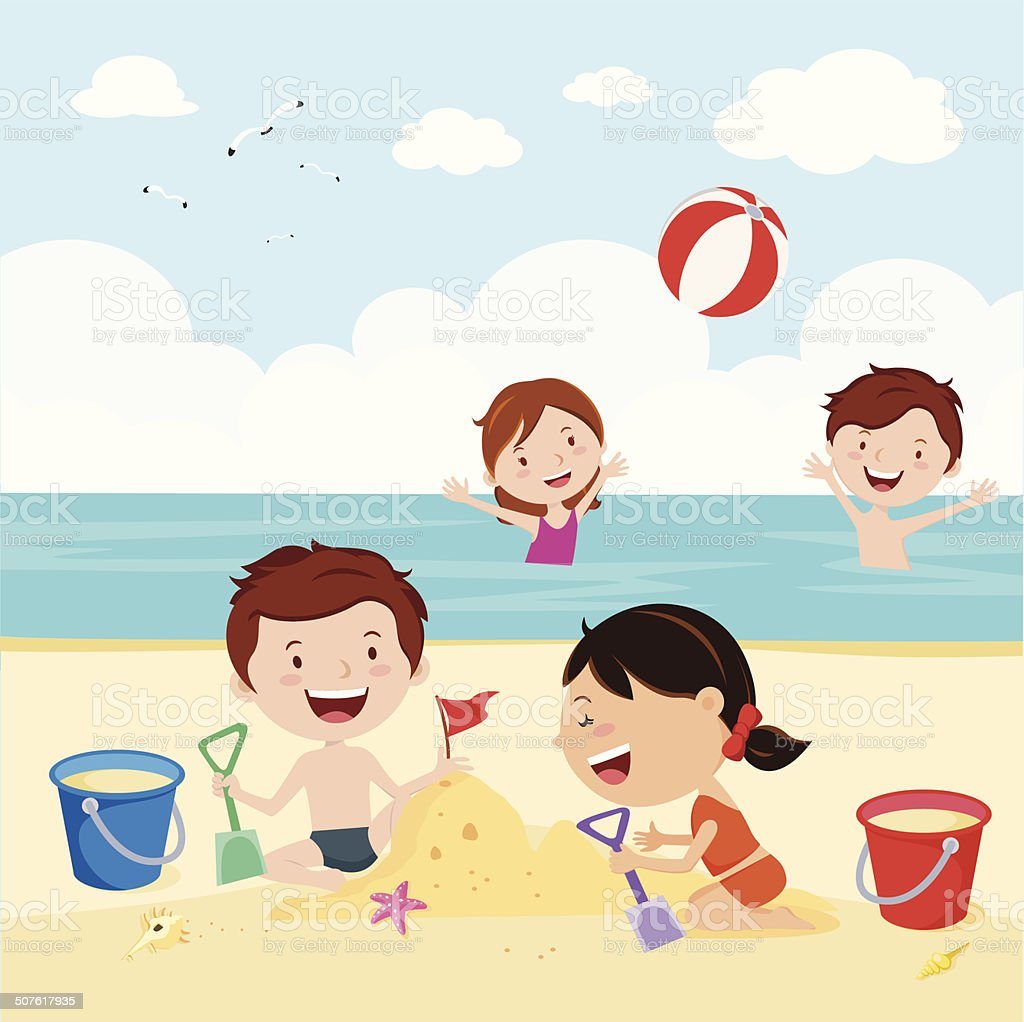 Fun at the beach vector art illustration
