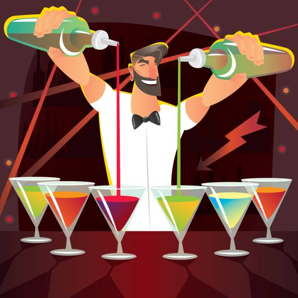 Fun bartender preparing several cocktails at party vector art illustration