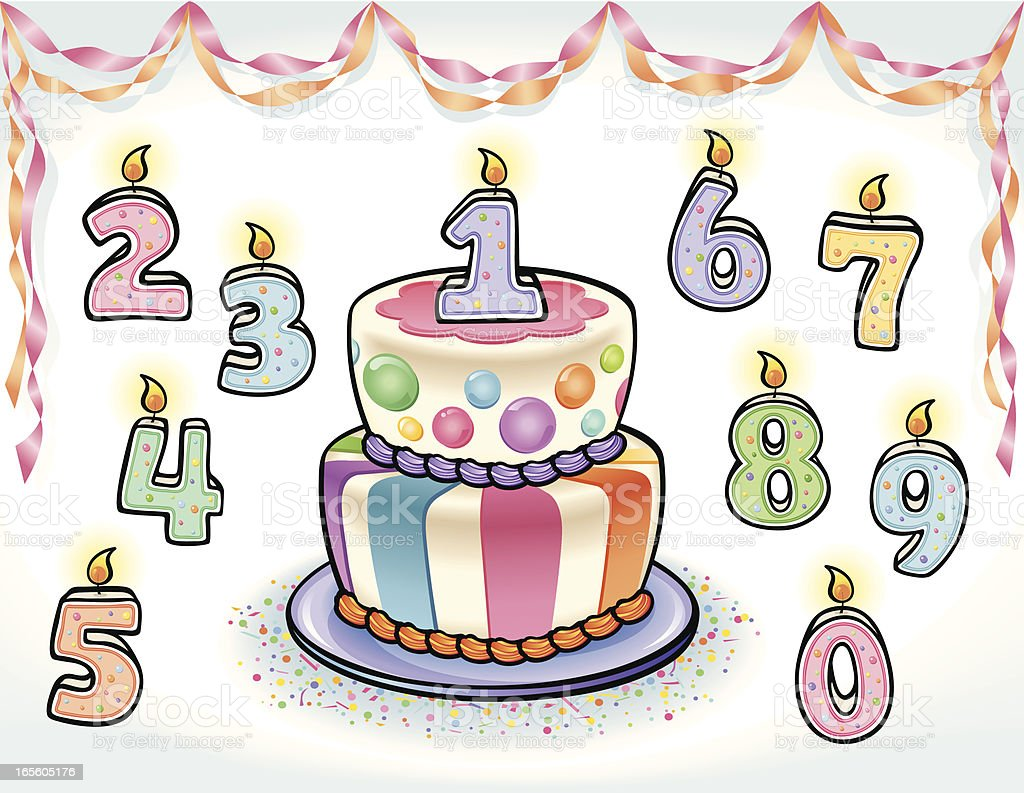 Fun Birthday Cake with numbers royalty-free stock vector art