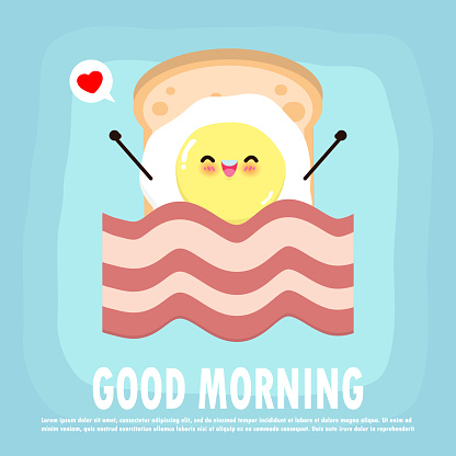 Fun breakfast, good morning funny food, Cute fried egg and toast, bacon, isolated on background for card, poster, banner, web design vector illustration.