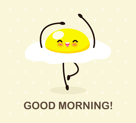 Fun breakfast, good morning funny food, Cute fried egg dancing isolated on background for card, poster, banner, web design vector illustration.