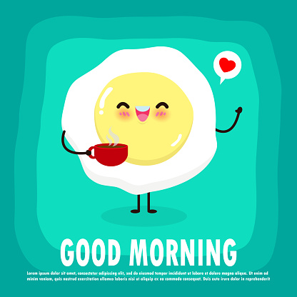 Fun breakfast, good morning funny food, Cute fried egg holding coffee cup isolated on background for card, poster, banner, web design vector illustration
