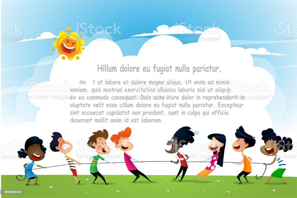 Lustige Cartoonjungen Und Mädchen Seil Ziehen Stock Vektor Art und ...