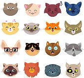 Fun cartoon cat faces. Cute kitten portraits vector set. Cartoon cats animal face illustration