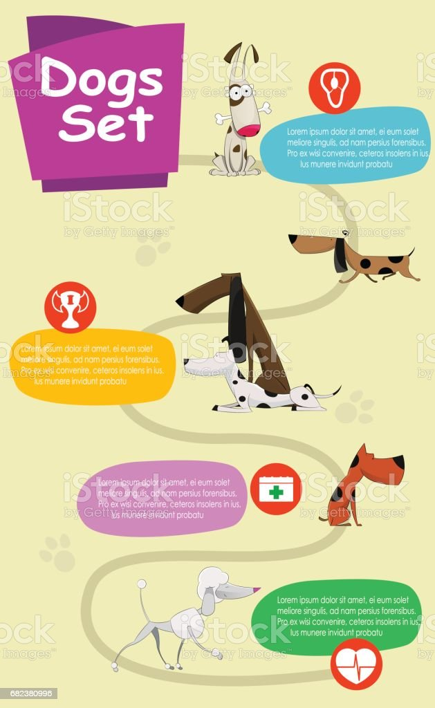 Fun cartoon dogs infographics fun cartoon dogs infographics - stockowe grafiki wektorowe i więcej obrazów buldog royalty-free