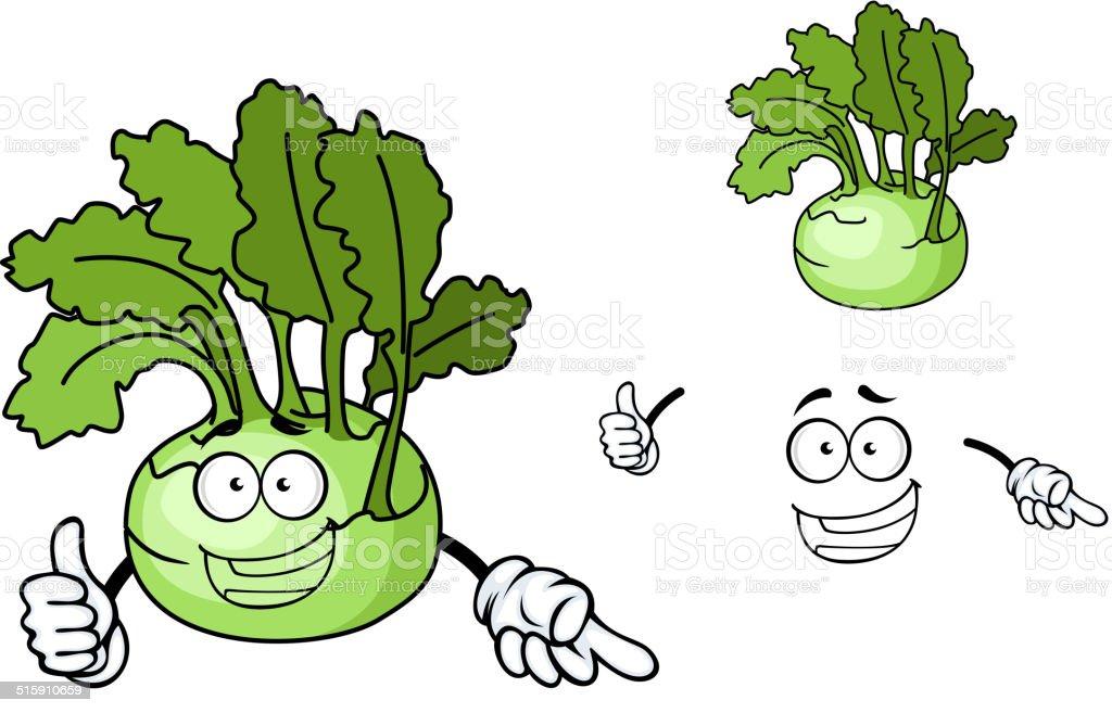 Fun cartoon kohlrabi vegetable vector art illustration