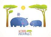 Fun Cartoon Mother and Child African Hippopotamus