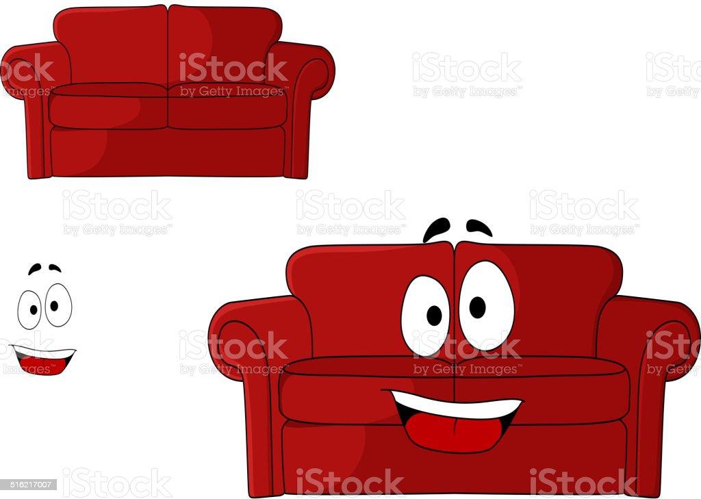 Lustige Comic Gepolsterten Roten Couch Stock Vektor Art Und Mehr