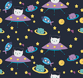 Fun cat astronaut in space seamless pattern. Vector cartoon charters. Editable vector illustration.