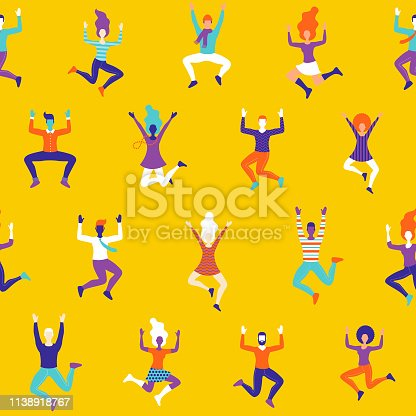 istock Fun Celebrating People Seamless Pattern 1138918767