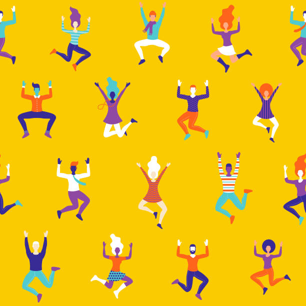 Fun Celebrating People Seamless Pattern A funky seamless pattern of cheering and celebrating women characters. File is built in RGB for the brightest possible colours but can easily be converted to CMYK. happiness stock illustrations