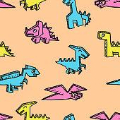 Fun character dinosaur for children textile print seamless pattern. Vector illustration.