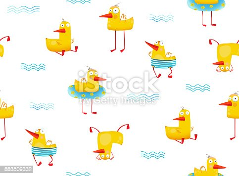 istock Fun childish Yellow ducky seamless pattern cartoon 883509332